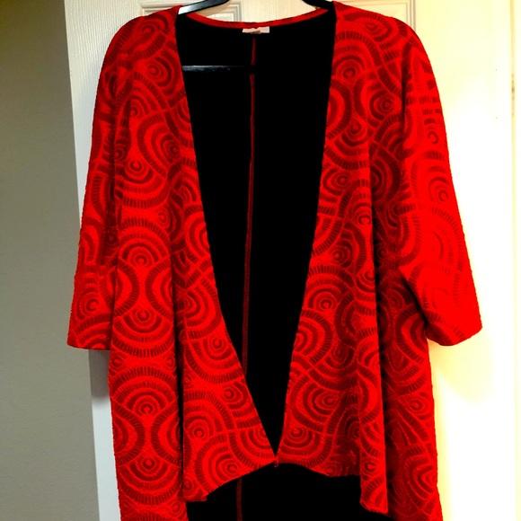LuLaRoe Red Lindsey Kimono. EUC.